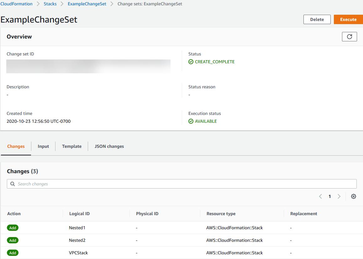 Viewing a Change Set - AWS CloudFormation